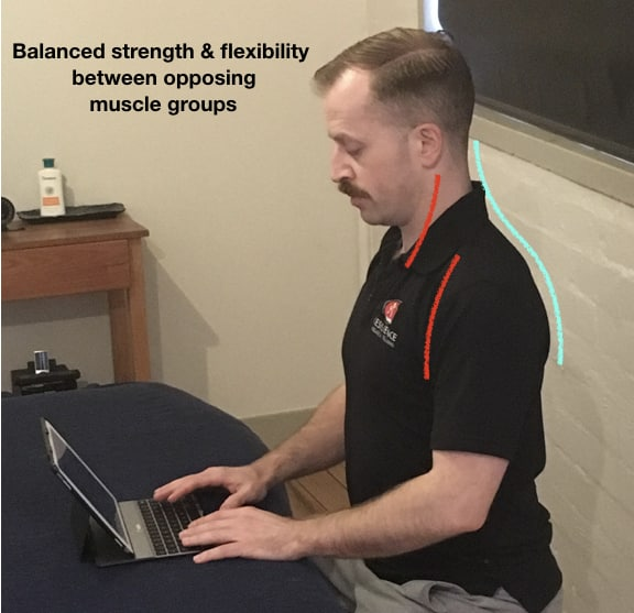 balanced posture for neck support